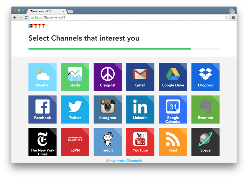 IFTTT select interesting channels