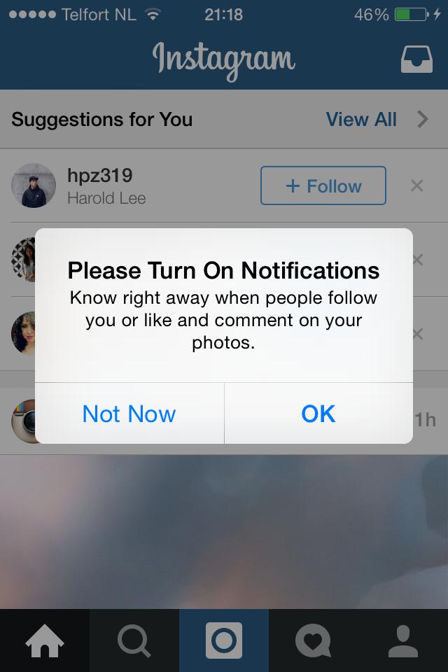 Instagram pre-apple alert