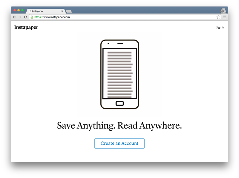Instapaper home page