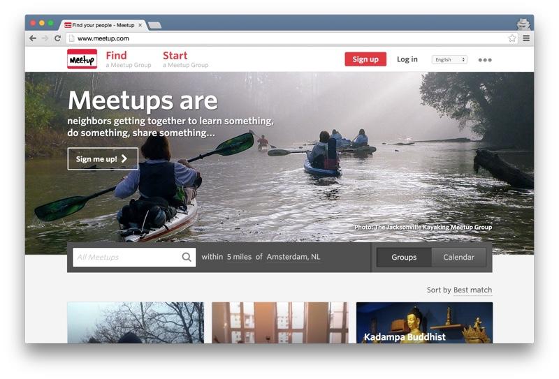 Meetup.com home page