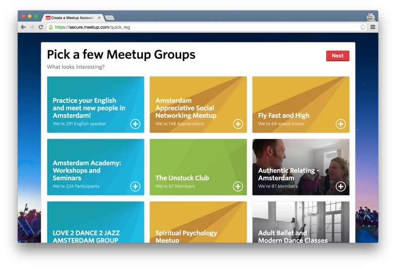 Meetup.com pick groups