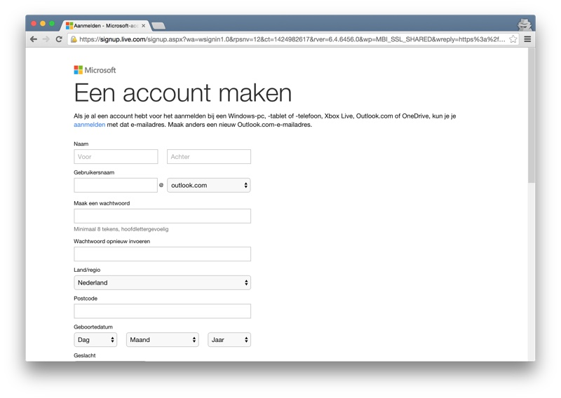 Outlook create an account