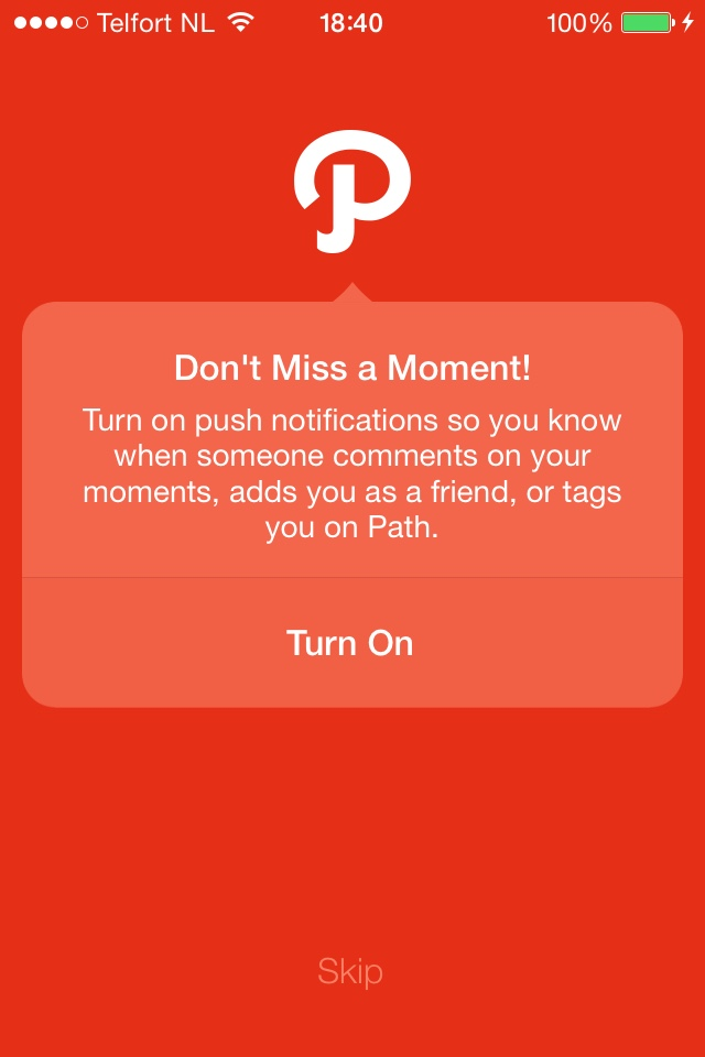 Path enable push notifications