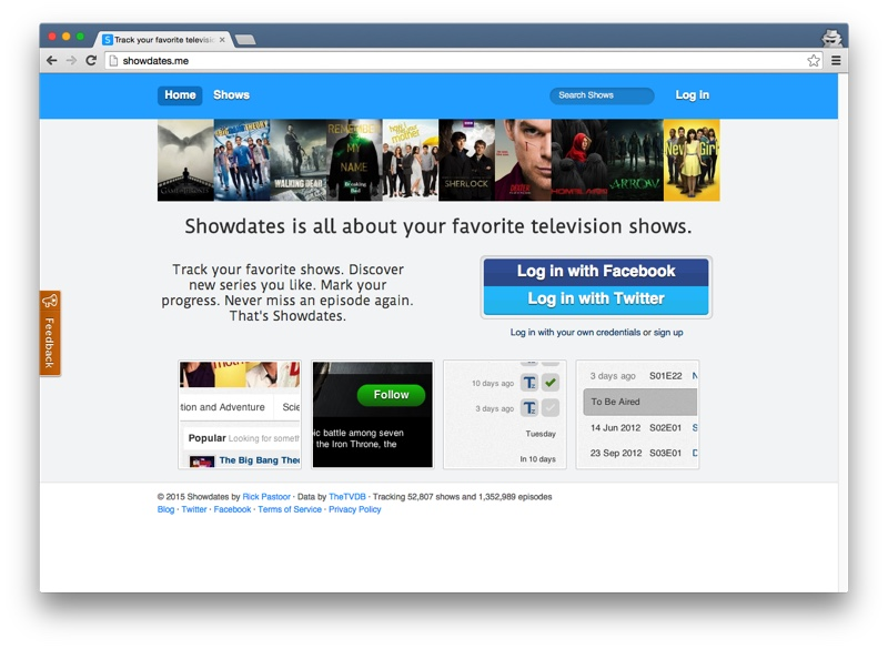 Showdates home page