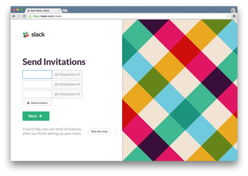 Slack send invitations
