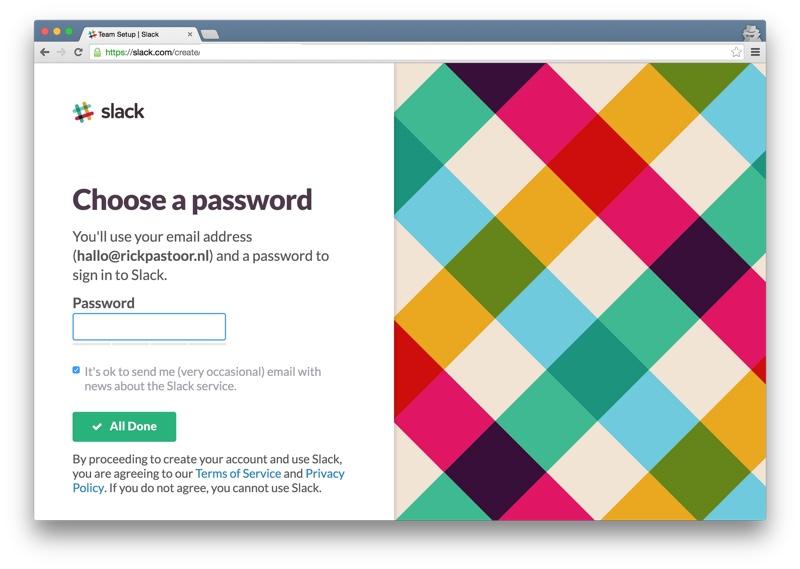 Slack setup password