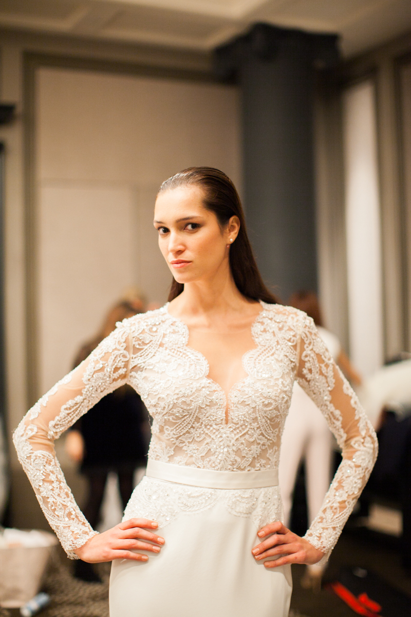 model backstage at the bridal catwalk event organised by Brides Magazine and Suzanne Neville at the Rosewood Hotel in London