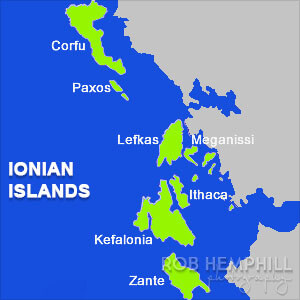 ionian islands greece map