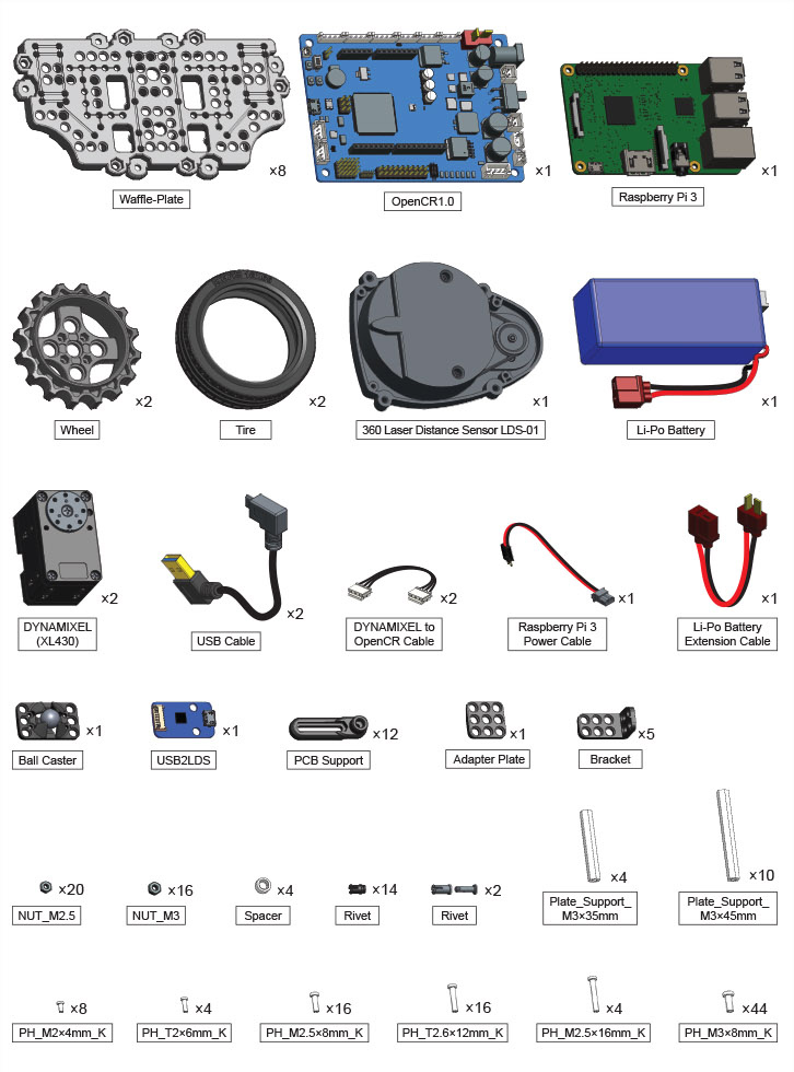 Raspberry Pi 3, OpenCR, waffle-plate, wheel, tire, lidar lds-01, li-po battery, xl430, bluetooth, bracket, screws
