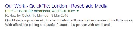 Roseblade Media result on Google