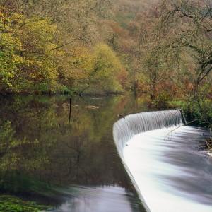 Weir on the River Wye, Derbyshire Peak District