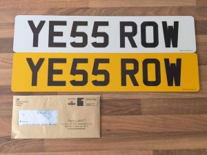 YE55 ROW private registration **Valued at £700**