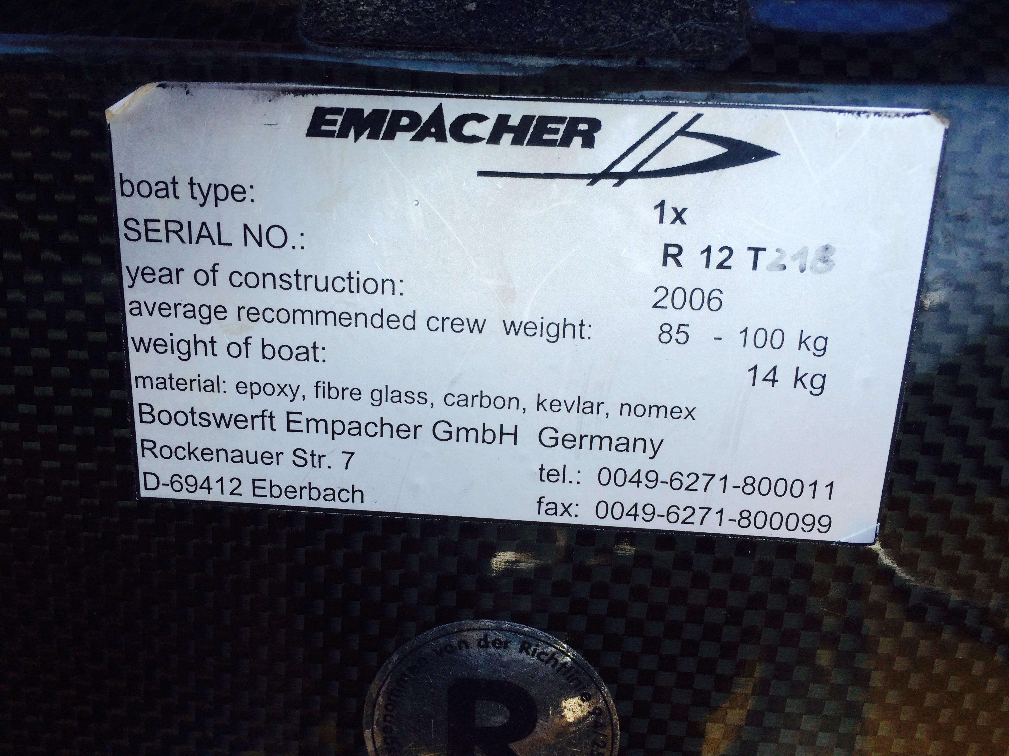 Empacher Single Scull for Sale