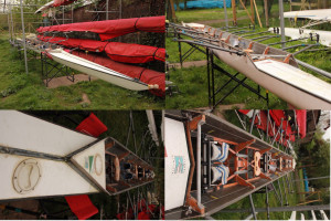 Quad 4x rowing boat; Vintage Raymond Sims, circa 20 years old, Oxford