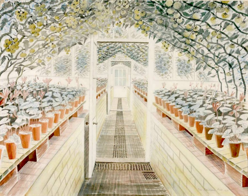 The Greenhouse: Cyclamen and Tomatoes 1935 by Eric Ravilious 1903-1942