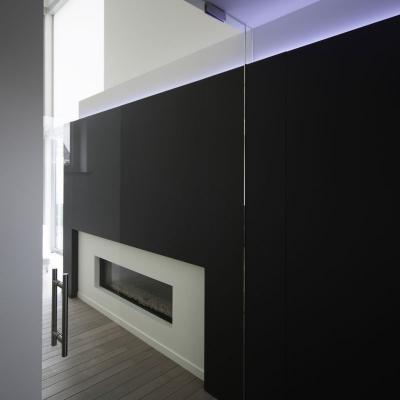 Heldere deur met verlegd draaipunt en t-greep 300 (interieurarchitecte: kissy van den plas)