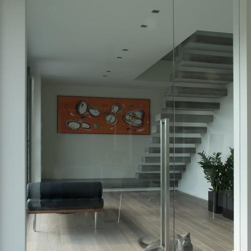 Heldere deur met verlegd draaipunt en vast zijpaneel, vloerveer en u-greep 1100