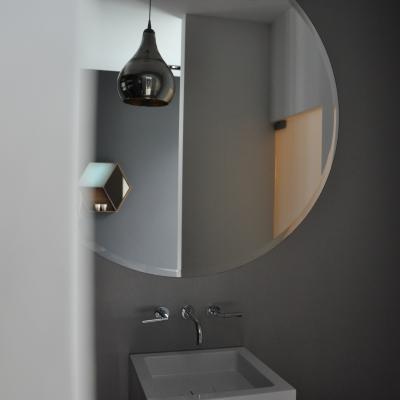 Ronde spiegel met geslepen facet