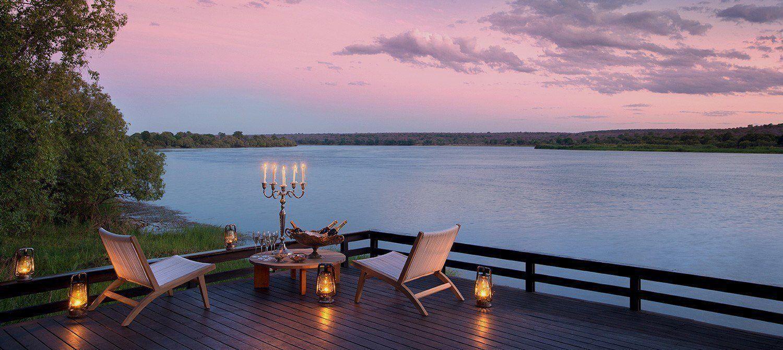 Dining on the deck at Royal Chundu River Lodge