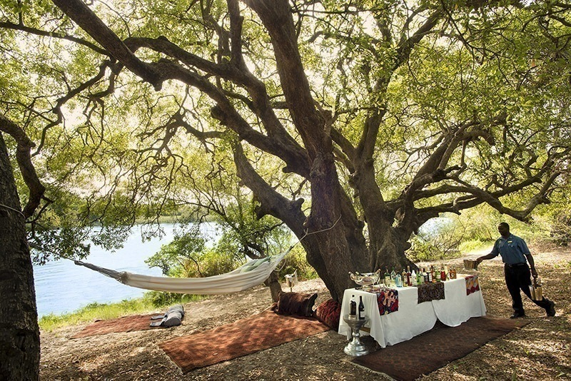 A private picnic on the banks of the Zambezi at Royal Chundu