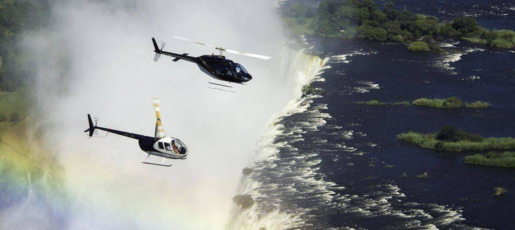 A helicopter ride of the Victoria Falls with Batoka Sky