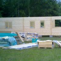 This is cabin during construction.