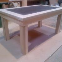Tulip wood table with Zinc insert