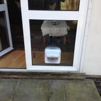 Cat flap fitted into new double glazed unit supplied and fitted by me.
