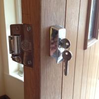 British Standard Nightlatch Fitted on a wooden door.