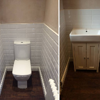 cloakroom with traditional vanity unit and brick effect tiles