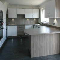 Driftwood and acrylic fitted kitchen