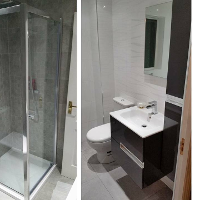 Porcelanosa tiles, Roca bathroom suite and full installation