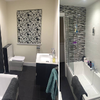 Fitted bathroom in Glasgow with WC tablet and designer units