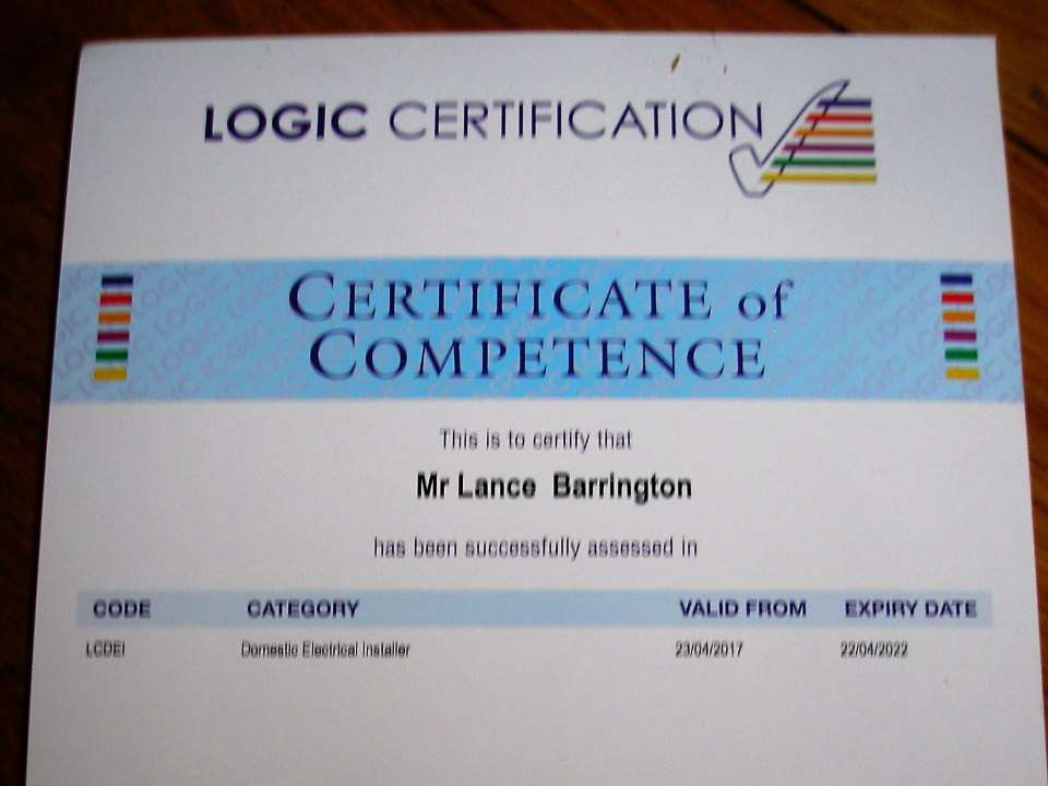 Part P Certificate >> Barrington Electrical In London Rated People