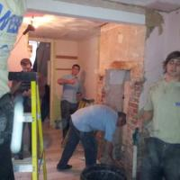 The boys hard at work on a tv kitchen makeover