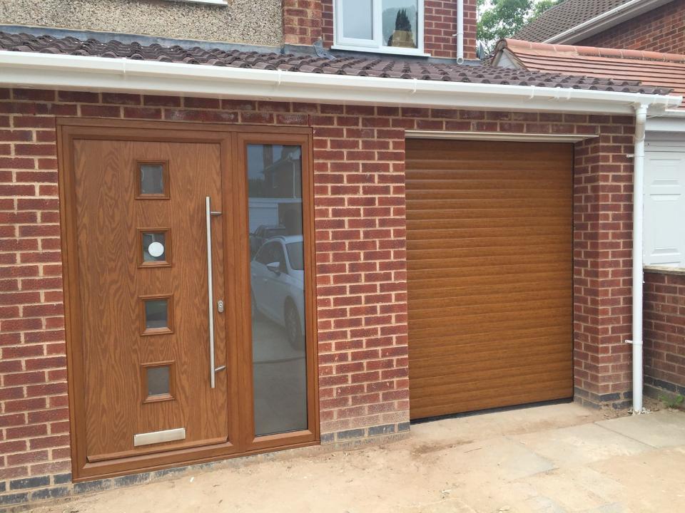 composite door and insulated roller door in golden oak & Bradgate Garage Doors in Leicester | Rated People pezcame.com