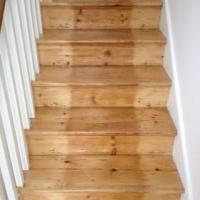 Original staircase sanded and varnished.