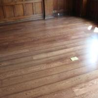 Oak Floor laid and stained to walnut.
