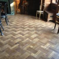 Parquet floor laid and finished.