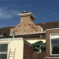chimney roughcast at 51 craiglochart avenue: NO SCAFFOLDING NECESSARY