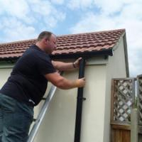 renewing guttering and down pipe to garage