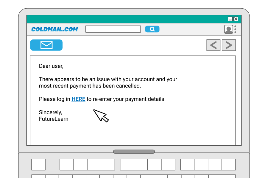 Phishing email asking recipient to follow link and re-enter payment details
