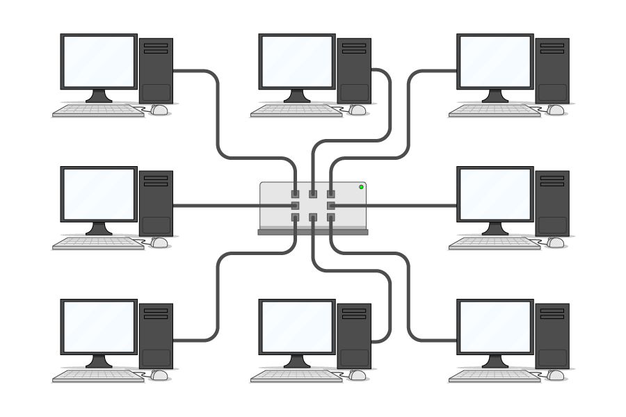8 computers, each connected by a cable to a central device
