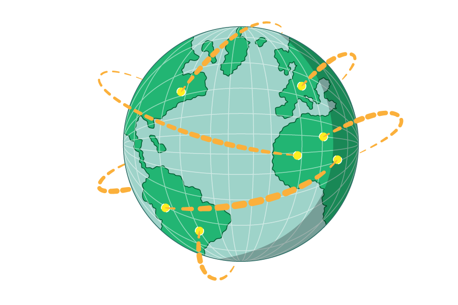 A globe showing connections being made between distant points.
