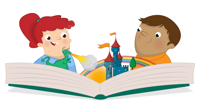 Two children reading a book with images of a dragon blowing fire onto a castle, a sun, and rainbow, all coming out of the book.