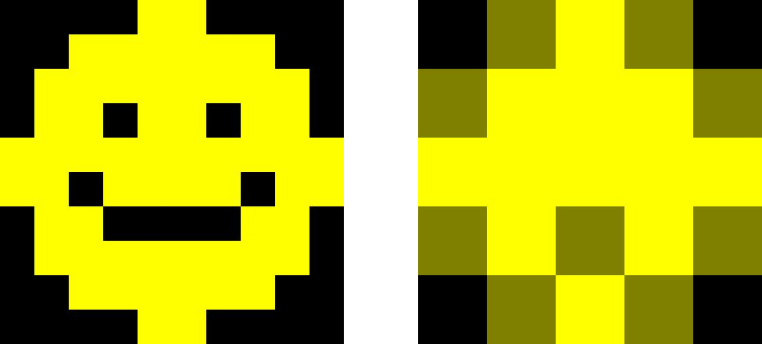 On the left, a  500 pixel by 500 pixel version of the 10 pixel by 10 pixel smiley face emoji created in week 2. On the right, a 500 pixel by 500 pixel version of the compressed 5 pixel by 5 pixel smiley face emoji created above. The eyes are no longer visible, the mouth is now just a single brown pixel, and the edge of the emoji is less smooth and contains some brown pixels.