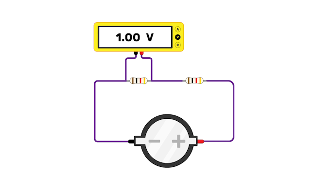 A potential divider circuit where a multimeter reads 1.00 V