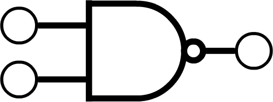 A symbol that looks like an extended D with a small circle touching its right-most point. Two input and an output are represented with larger circles connected with a straight line - the inputs are connected on the left-hand side approximately one quarter and three quarters of the way down the straight edge of the D, and the output is connected on the right-hand side to the small circle.