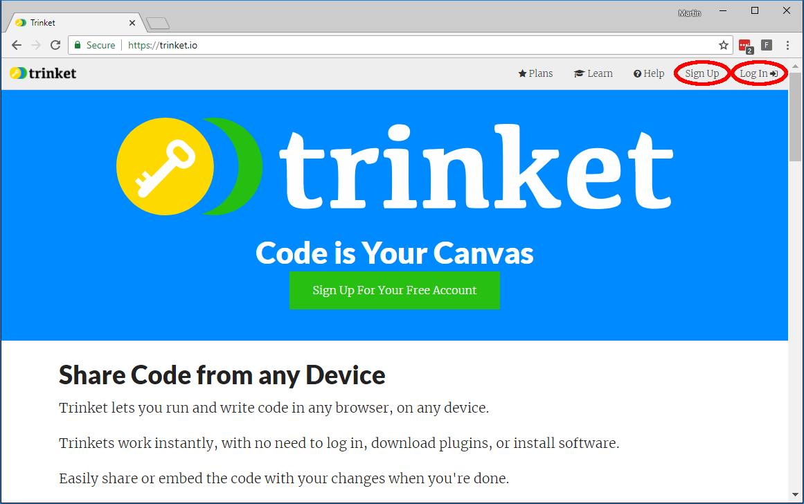 The trinket website with the sign up and log in links highlighted