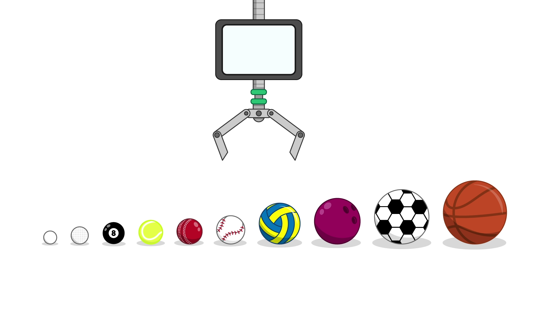 A shelf of the 10 balls in the sorted order above, with a robotic claw above them.